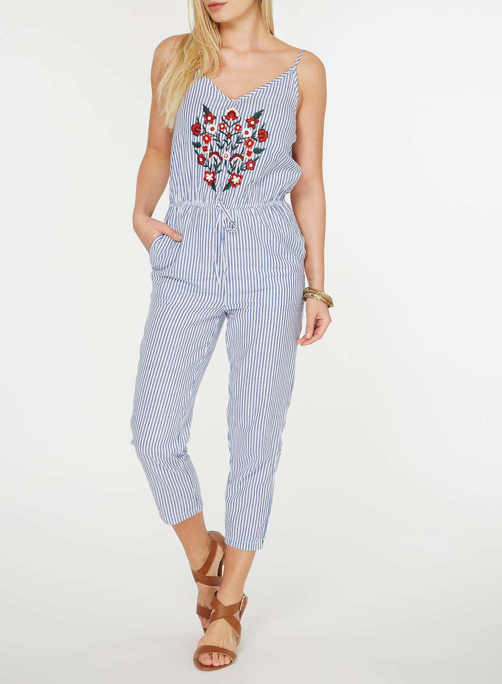 762f7cfa0c Lyst - Dorothy Perkins Blue And White Striped Floral Embroidery ...
