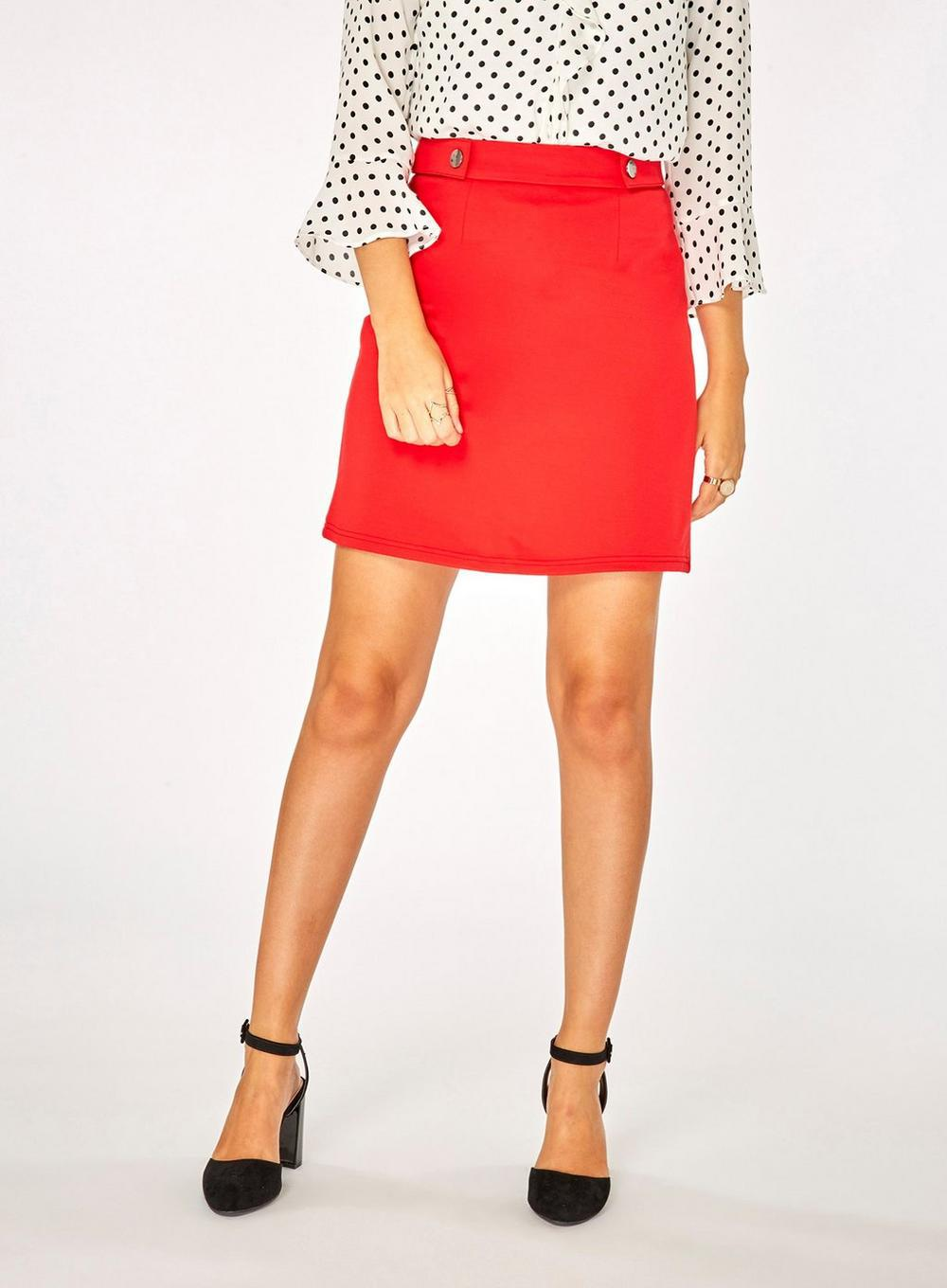 66a48a40cd Dorothy Perkins Red Side Popper Mini Skirt in Red - Lyst