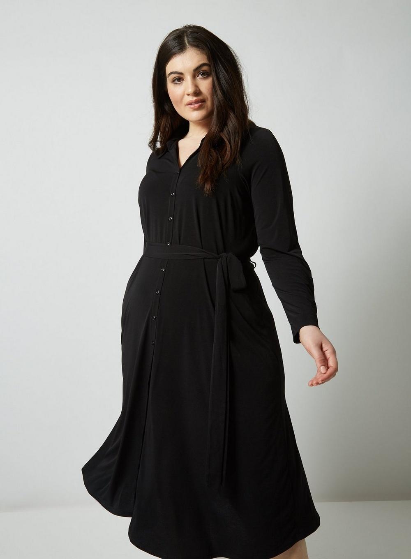 a0cfac8e4d0 Lyst - Dorothy Perkins Dp Curve Black Midi Shirt Dress in Black