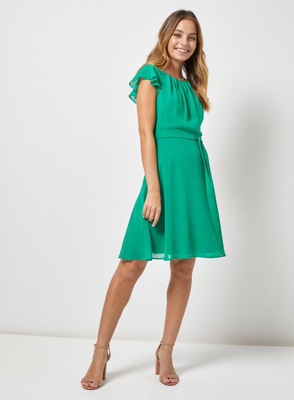 f5259d96fb Dorothy Perkins - Billie   Blossom Petite Green Belted Skater Dress - Lyst.  View fullscreen