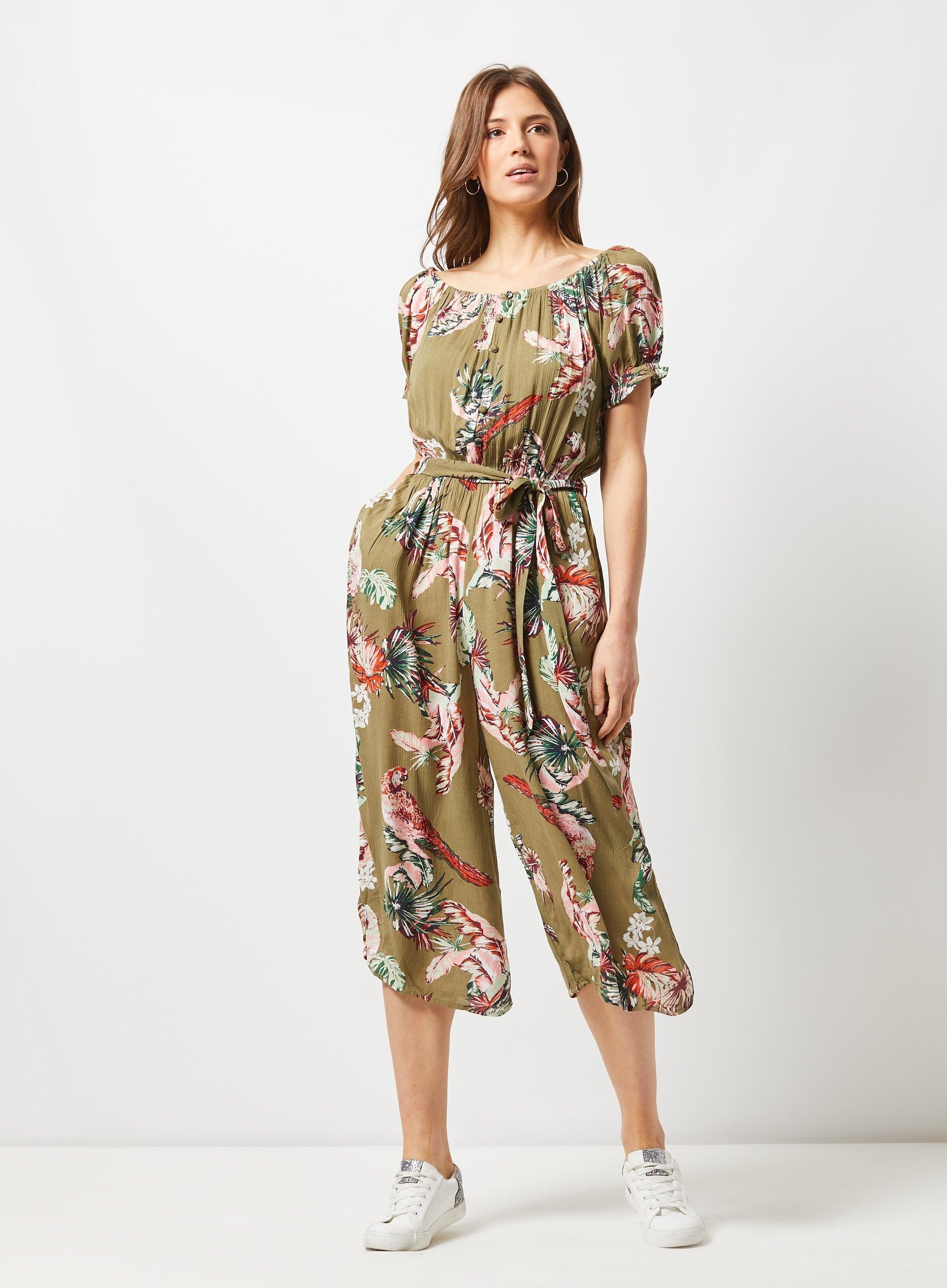 e5db004f894 Dorothy Perkins Khaki Parrot Print Culottes Jumpsuit in Natural - Lyst
