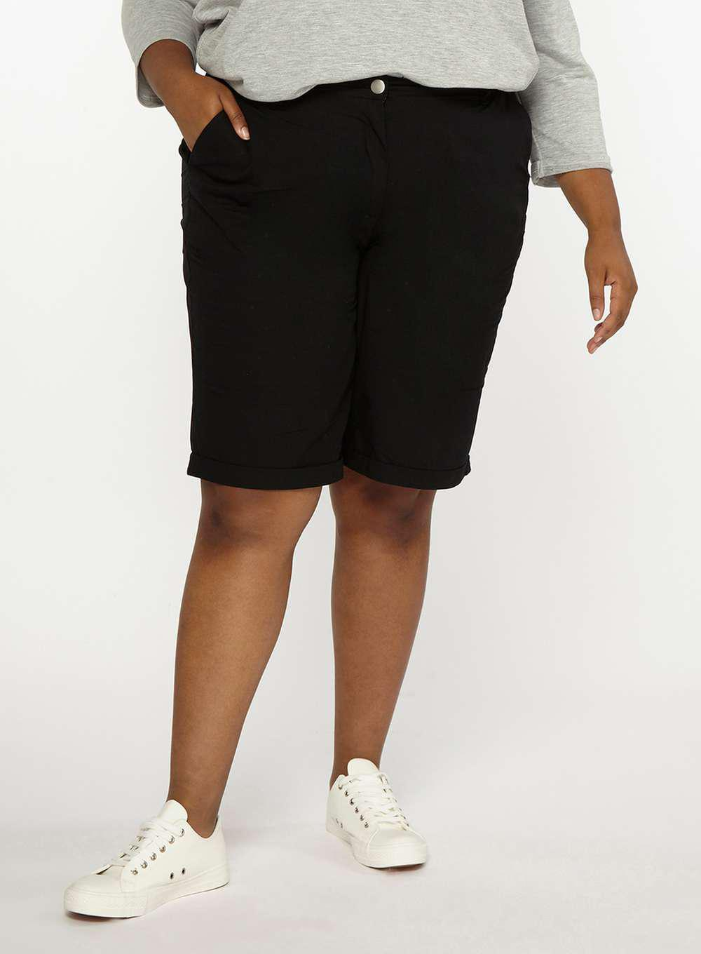 Curve Lyst Perkins Knee Dorothy Dp Shorts Black Poplin In FTlK1Jc