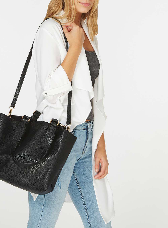 45d63ef86d1c Lyst - Dorothy Perkins Black Oversized Handle Tote Bag in Black