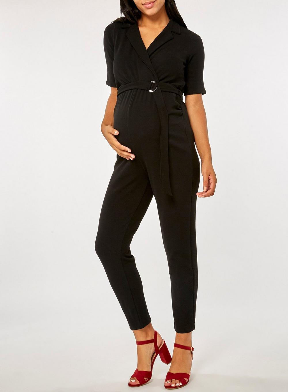 b61007df3e Dorothy Perkins Maternity Black Tux Wrap Jumpsuit in Black - Lyst