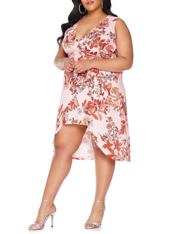 3c8b08453f7 Dorothy Perkins - Quiz Curve Pink And Red Floral Print Wrap Dress - Lyst.  View fullscreen