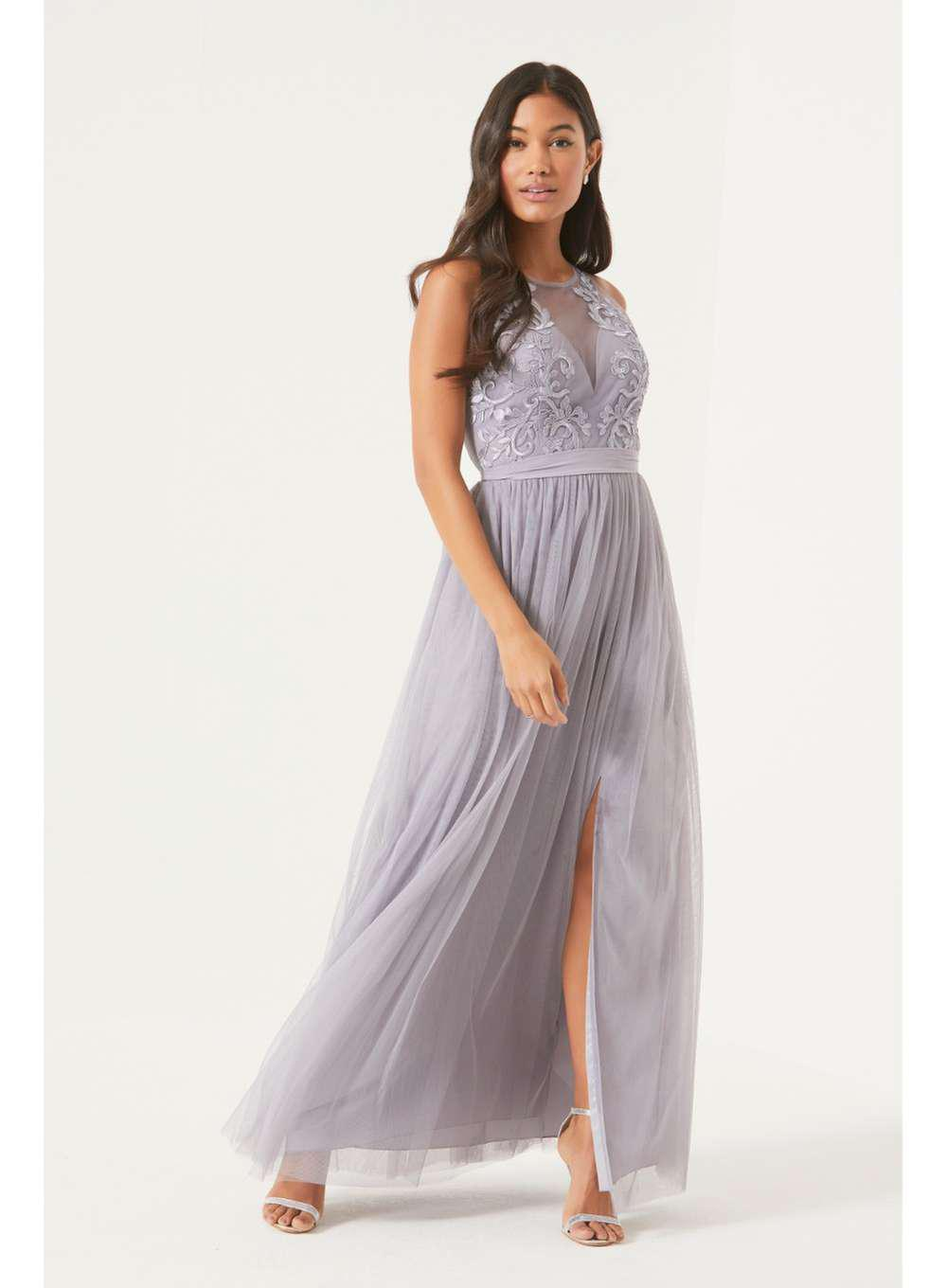 ae8b14e4aabe Lyst - Dorothy Perkins Little Mistress Purple Lace Maxi Dress in Purple