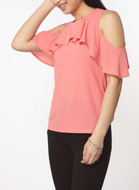 8a44d391647c9c Lyst - Dorothy Perkins Petite Coral Cold Shoulder Top in Pink