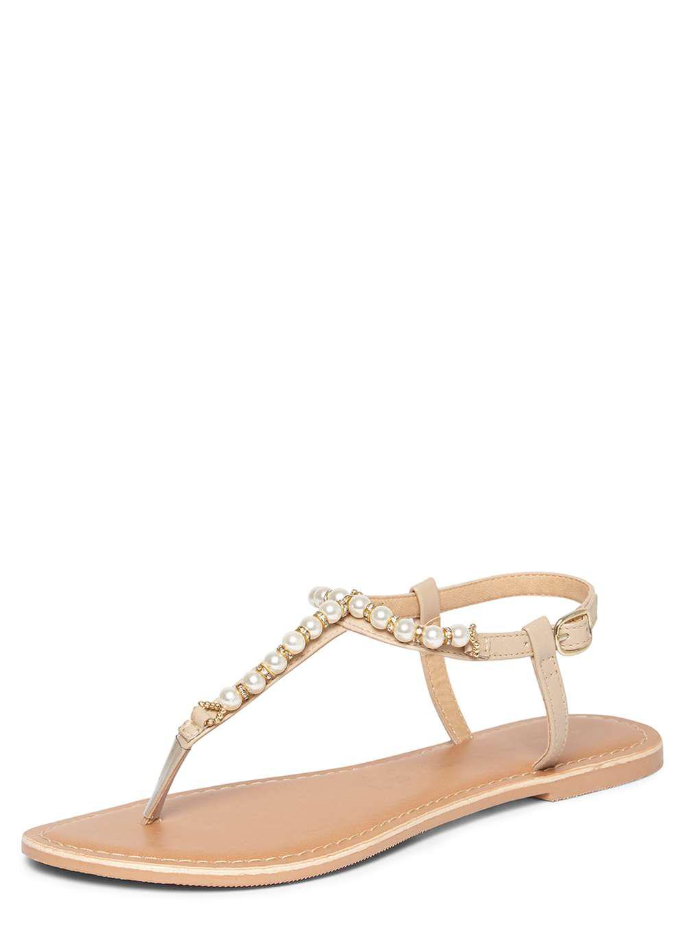 c6ca26b1dbc Lyst - Dorothy Perkins Nude  florence  Pearl Sandals in White