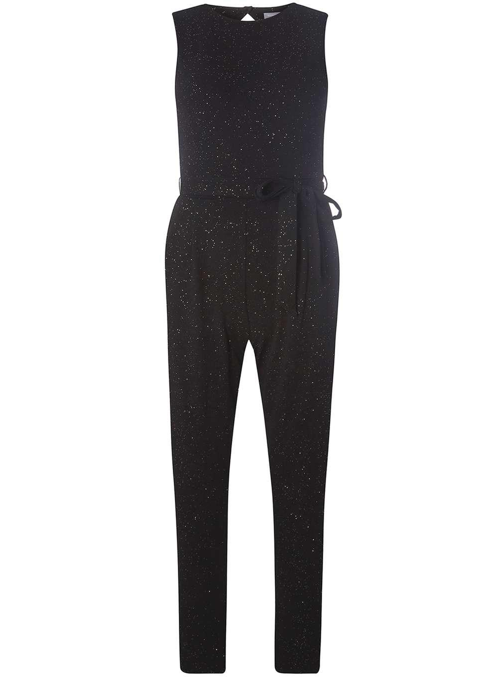 0dd70a5b543 Lyst - Dorothy Perkins Petite Black Sparkle Jumpsuit in Black