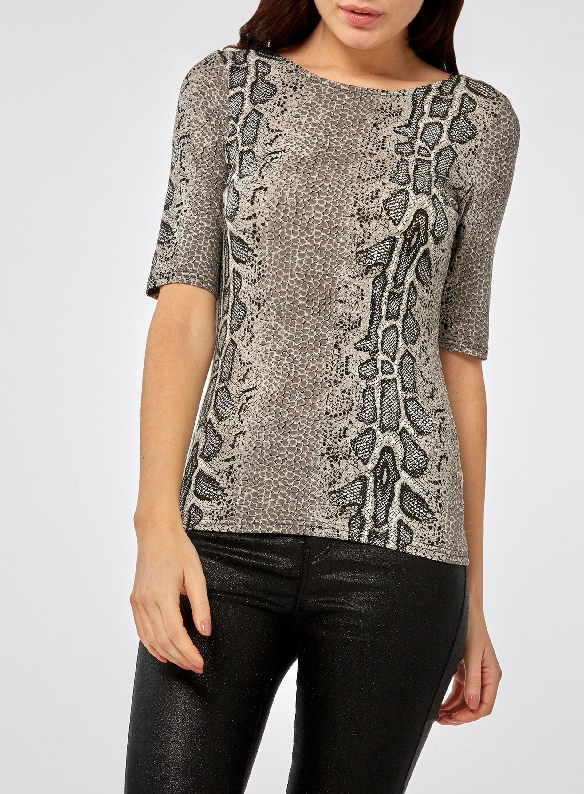 da57822433620 Dorothy Perkins - Black Multi Colour Snake Print Scoop Back Top - Lyst.  View fullscreen