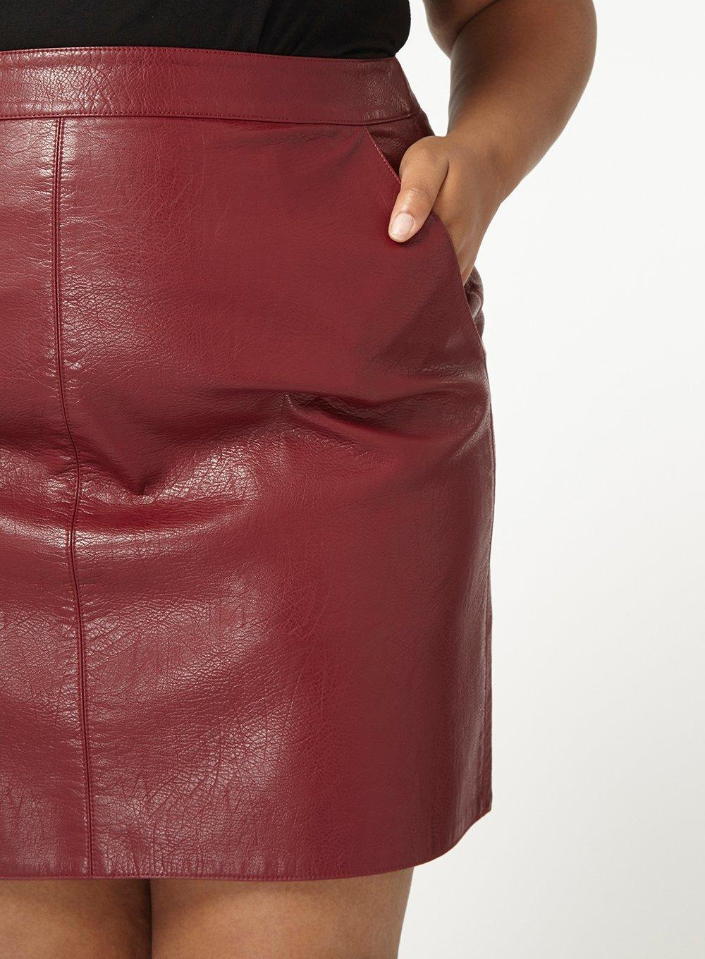 39eed932b Dorothy Perkins Dp Curve Burgundy Pu Pocket Mini Skirt in Red - Lyst