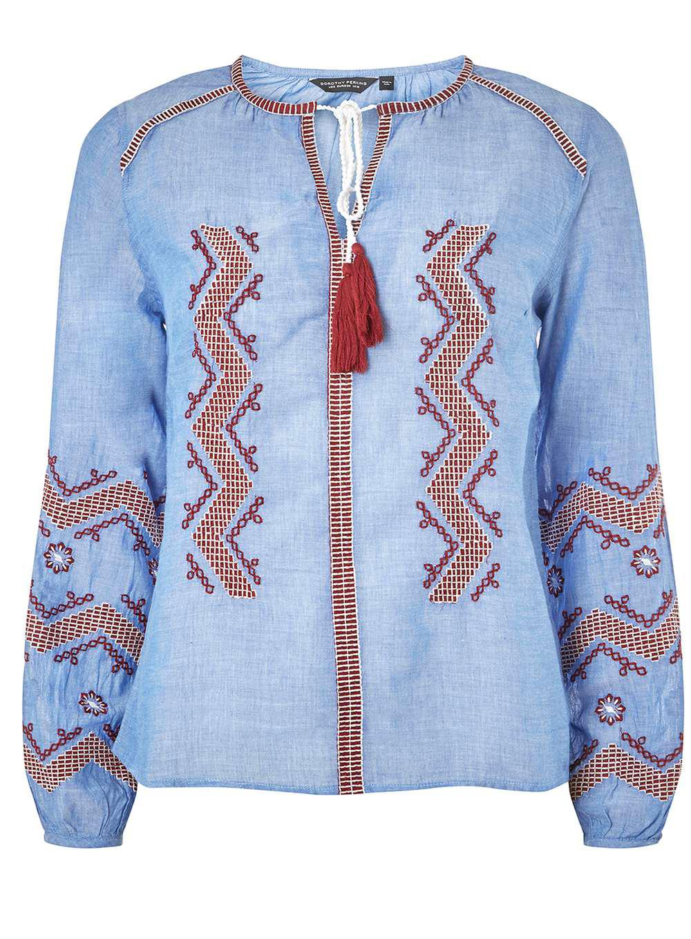 Eastbay Clearance Latest Collections Dorothy Perkins Womens Chambray Zig Zag Boho Top- OGe29VYZ