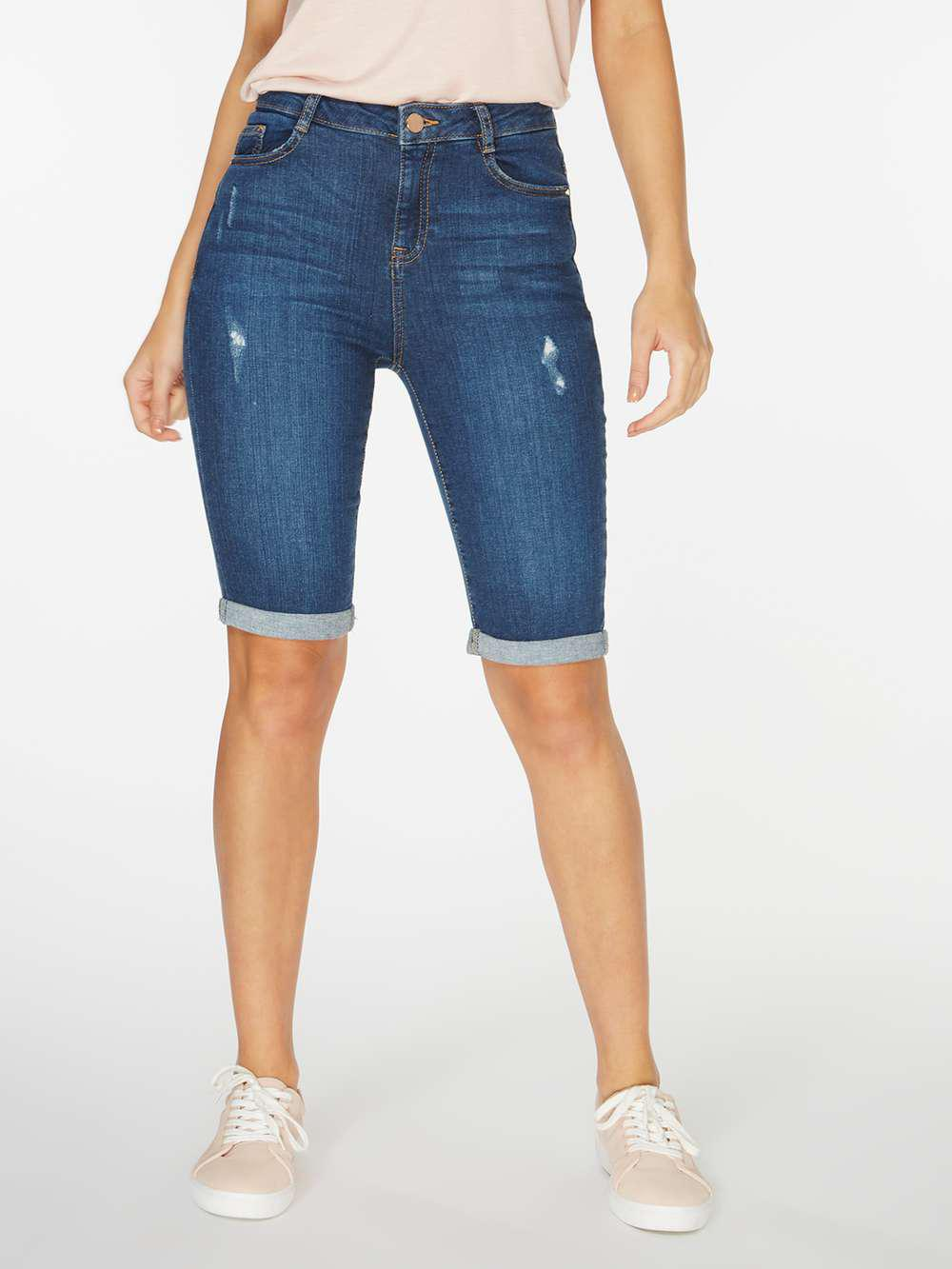 Dorothy Perkins | Mid Wash Blue Shaping Knee Shorts | Lyst. View Fullscreen