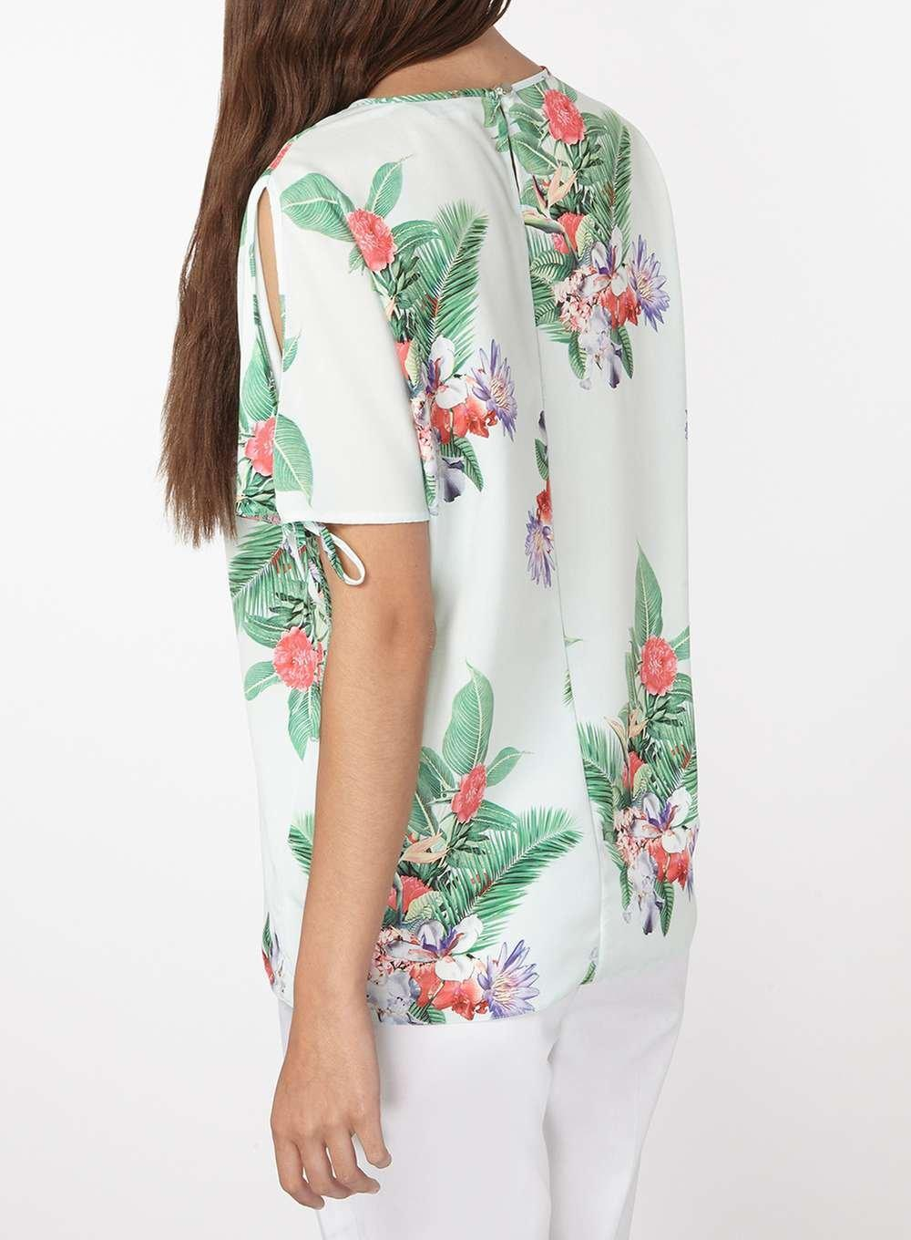 84d556c9246e16 Lyst - Dorothy Perkins Tall Green Tropical Cold Shoulder Blouse in Green