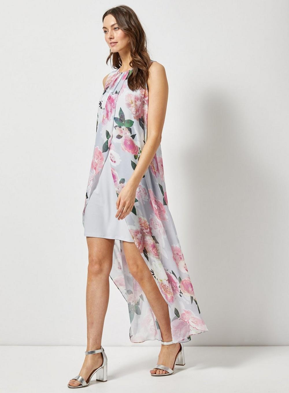 2e0443535a99d Dorothy Perkins - Gray Billie   Blossom Grey Floral Print Maxi Trapeze  Dress - Lyst. View fullscreen