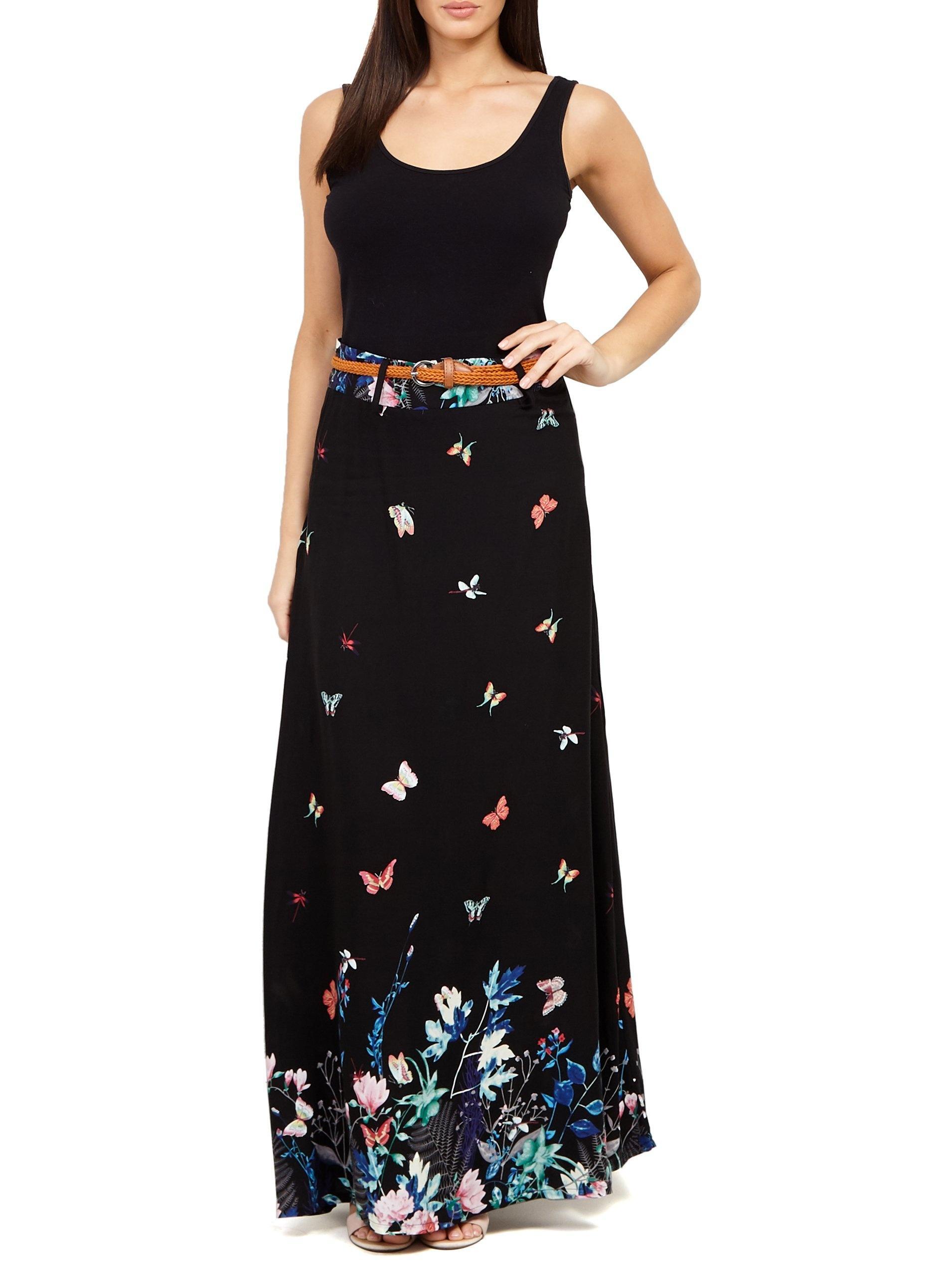 f2f2908ebd Dorothy Perkins Izabel London Black Butterfly Print Maxi Skirt in ...