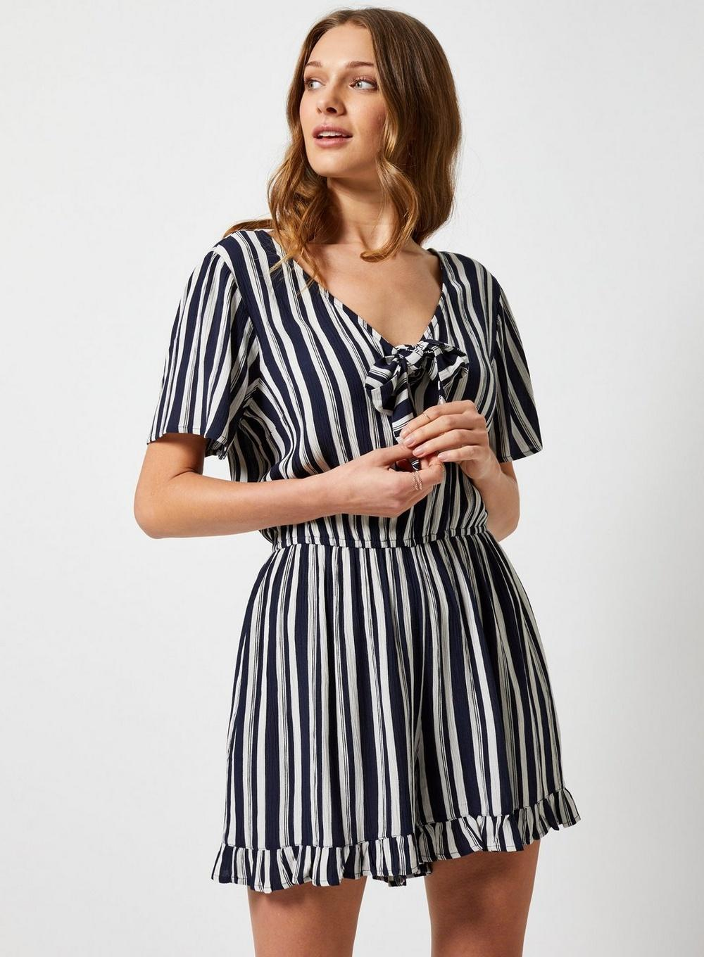e8dc864f253 Dorothy Perkins - Blue Navy Stripe Print Playsuit - Lyst. View fullscreen