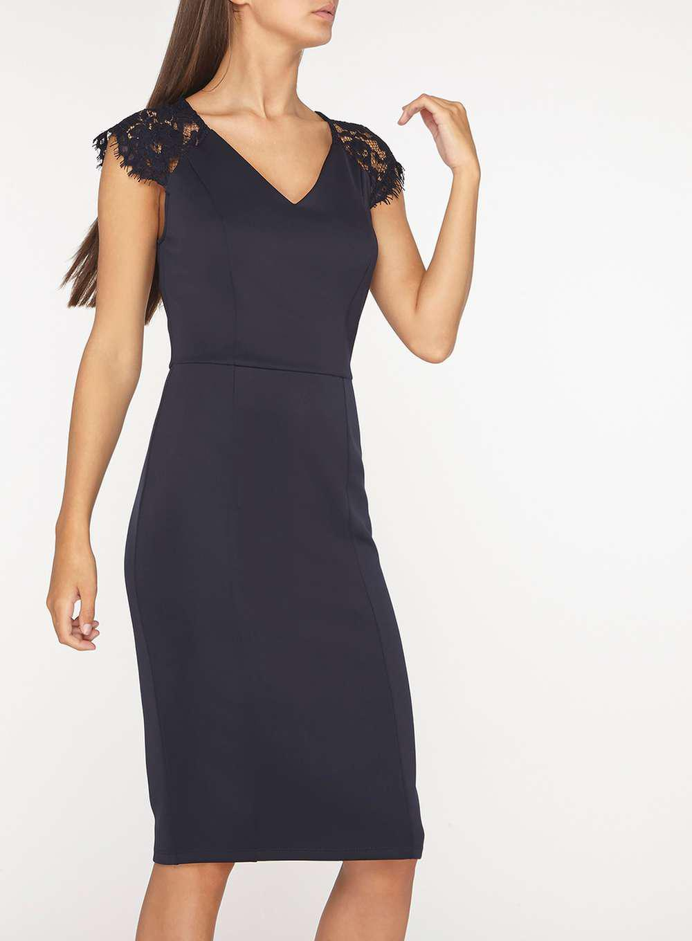 e1fdcfa12a9f9 Lyst - Dorothy Perkins Tall Navy Lace Shoulder Pencil Dress in Blue