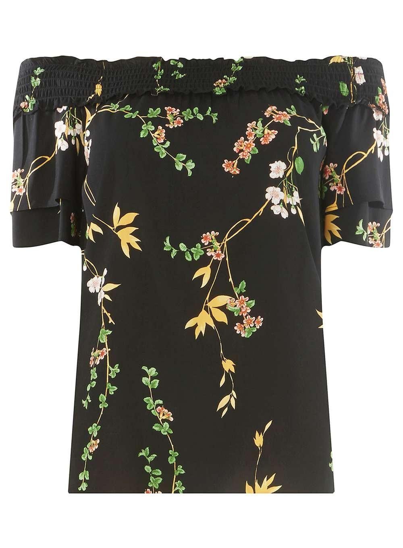 658a73bebc91c7 Dorothy Perkins Black Floral Print Bardot Top in Black - Lyst