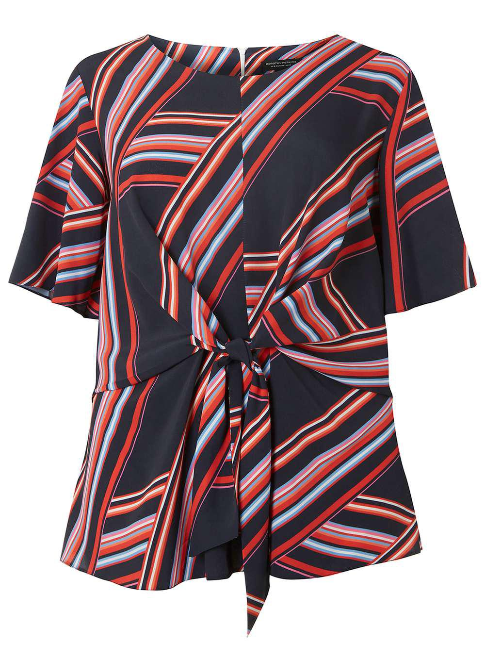 Cheap Price Dorothy Perkins Womens **DP Curve Multi Colour Striped Manipulat Blouse- High Quality Online KrhTwV8