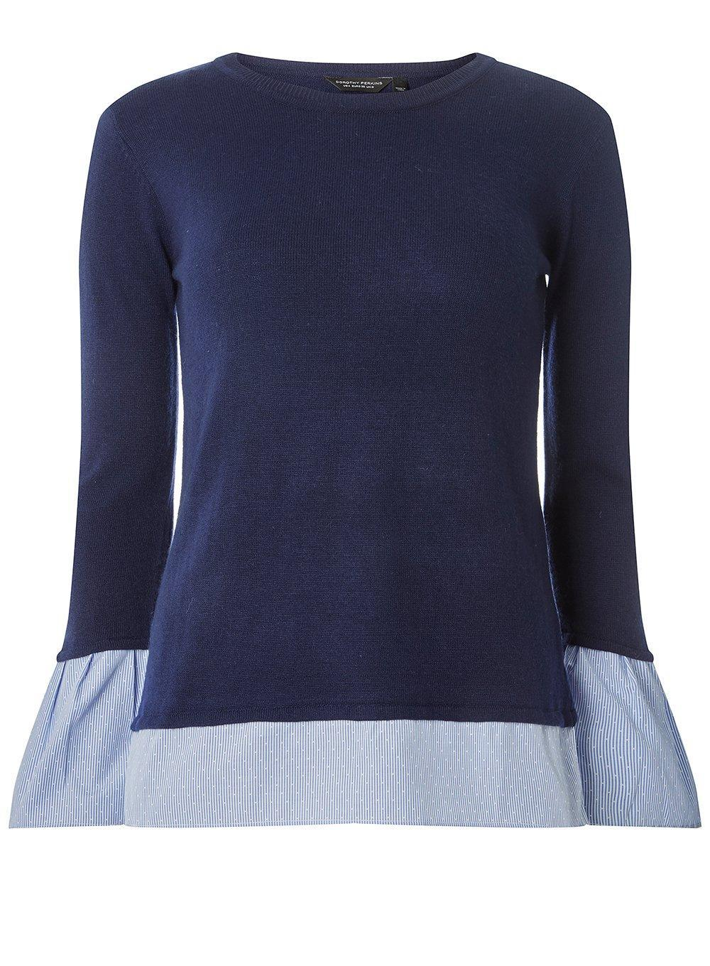 Sale Affordable Dorothy Perkins Womens Navy Woven Cuff 2-In-1 jumper- Sale Authentic Outlet Store dKYXtA