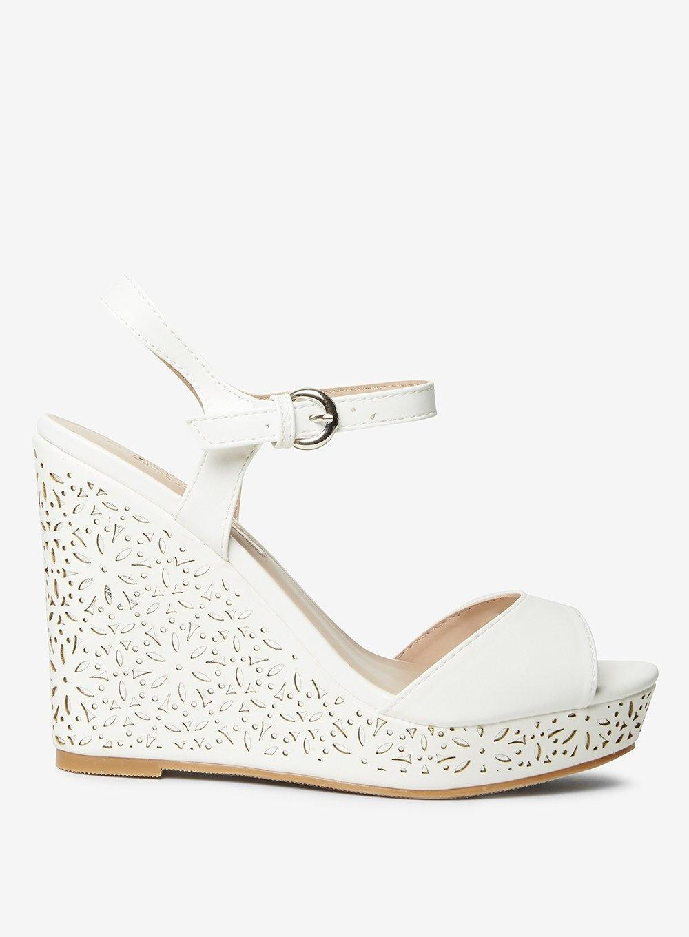 bcc3c75d69cae1 Dorothy Perkins White  rayne  Lazer Cut Wedges in White - Lyst