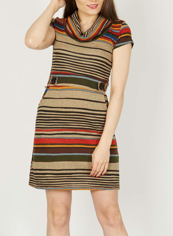 Lyst - Dorothy Perkins Izabel London Multi Brown Striped Shift Dress ... d871de9ad
