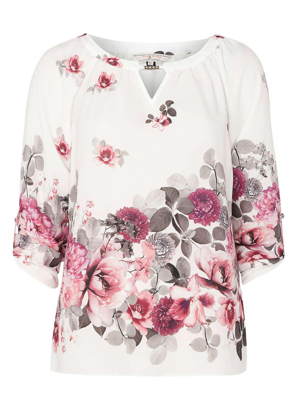 51f73efd79f1a6 Lyst - Dorothy Perkins Billie & Blossom Tall Ivory Floral Blouse in ...