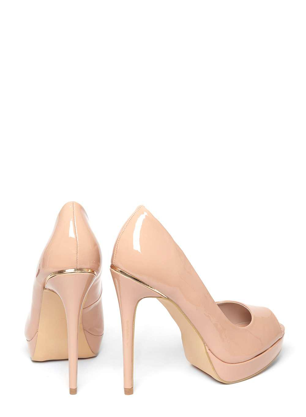 59da766f17773 Dorothy Perkins Nude  gift  Peep Toe Court Shoes in Natural - Lyst