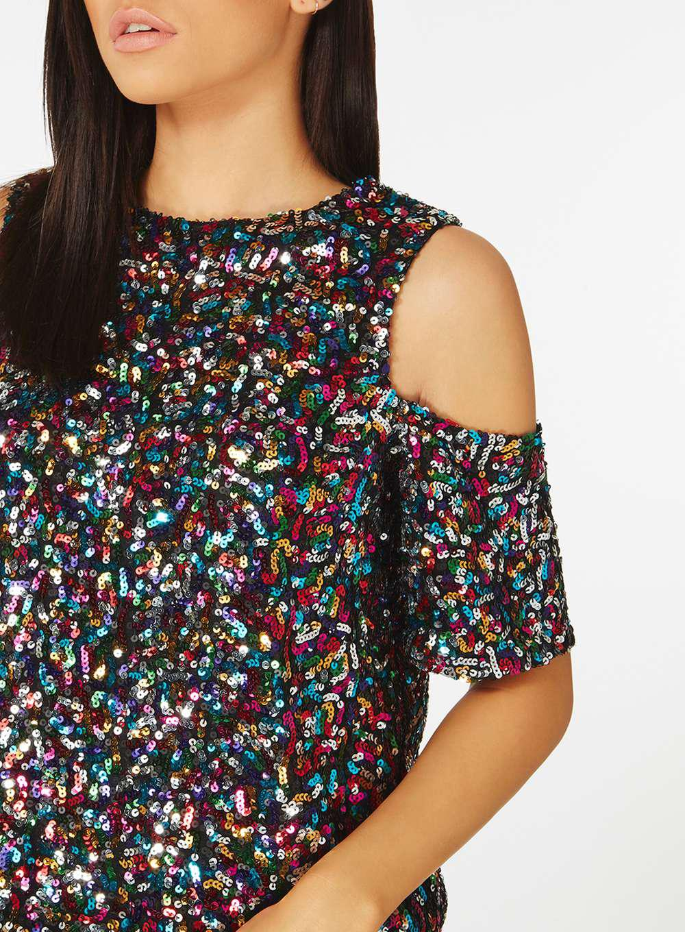 696b178950291 Lyst - Dorothy Perkins Multi Sequin Cold Shoulder Top