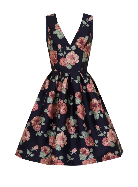 Lyst Dorothy Perkins Chi London Curve Navy Fl Dress In Blue 8f7110f24