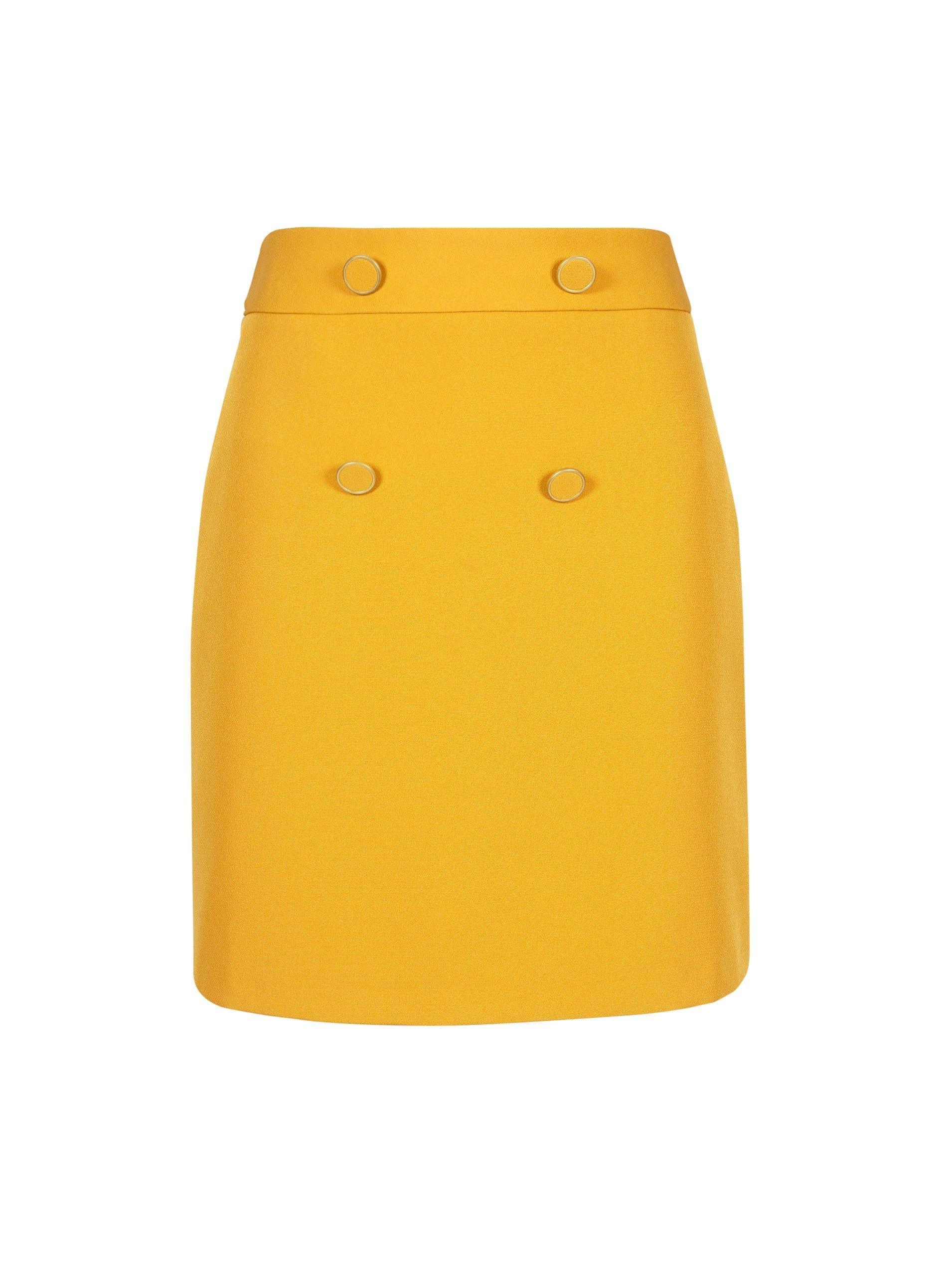 59536cf9bb Dorothy Perkins Yellow Button Mini Skirt - Lyst