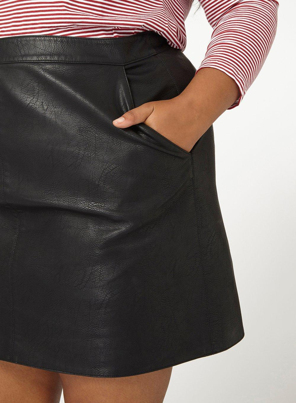 9ef518b43 Dorothy Perkins Dp Curve Black Faux-leather Mini Skirt in Black - Lyst