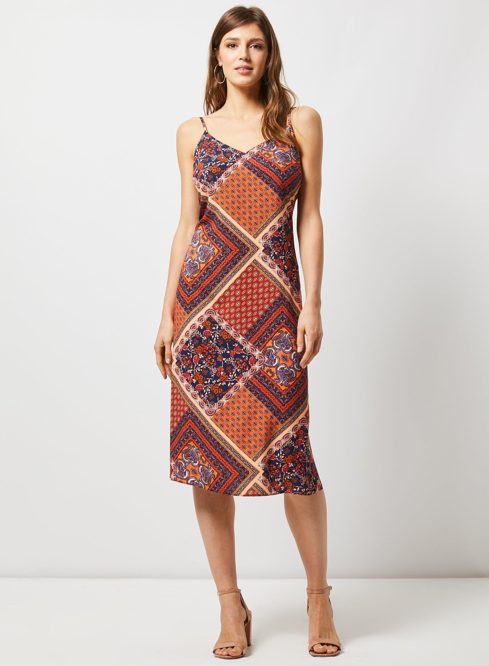 b8970f5f2057b9 Dorothy Perkins - Orange Multi Coloured Scarf Print Slip Dress - Lyst. View  fullscreen