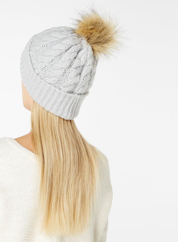 6d76717f Dorothy Perkins Grey Laguna Faux Fur Pom Beanie Hat in Gray - Lyst