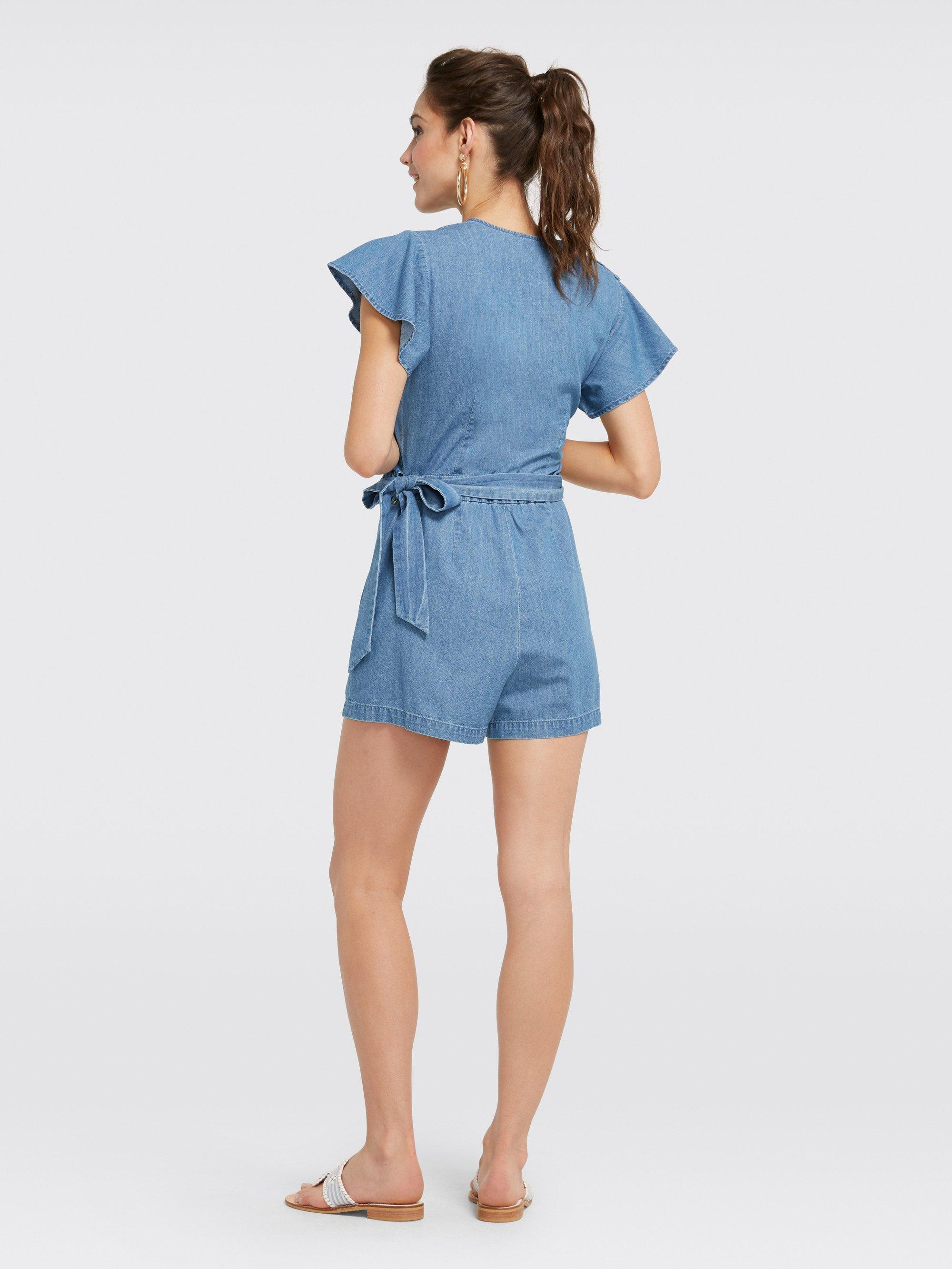 a368f56f4bd Draper James - Blue Chambray Flutter Romper - Lyst. View fullscreen