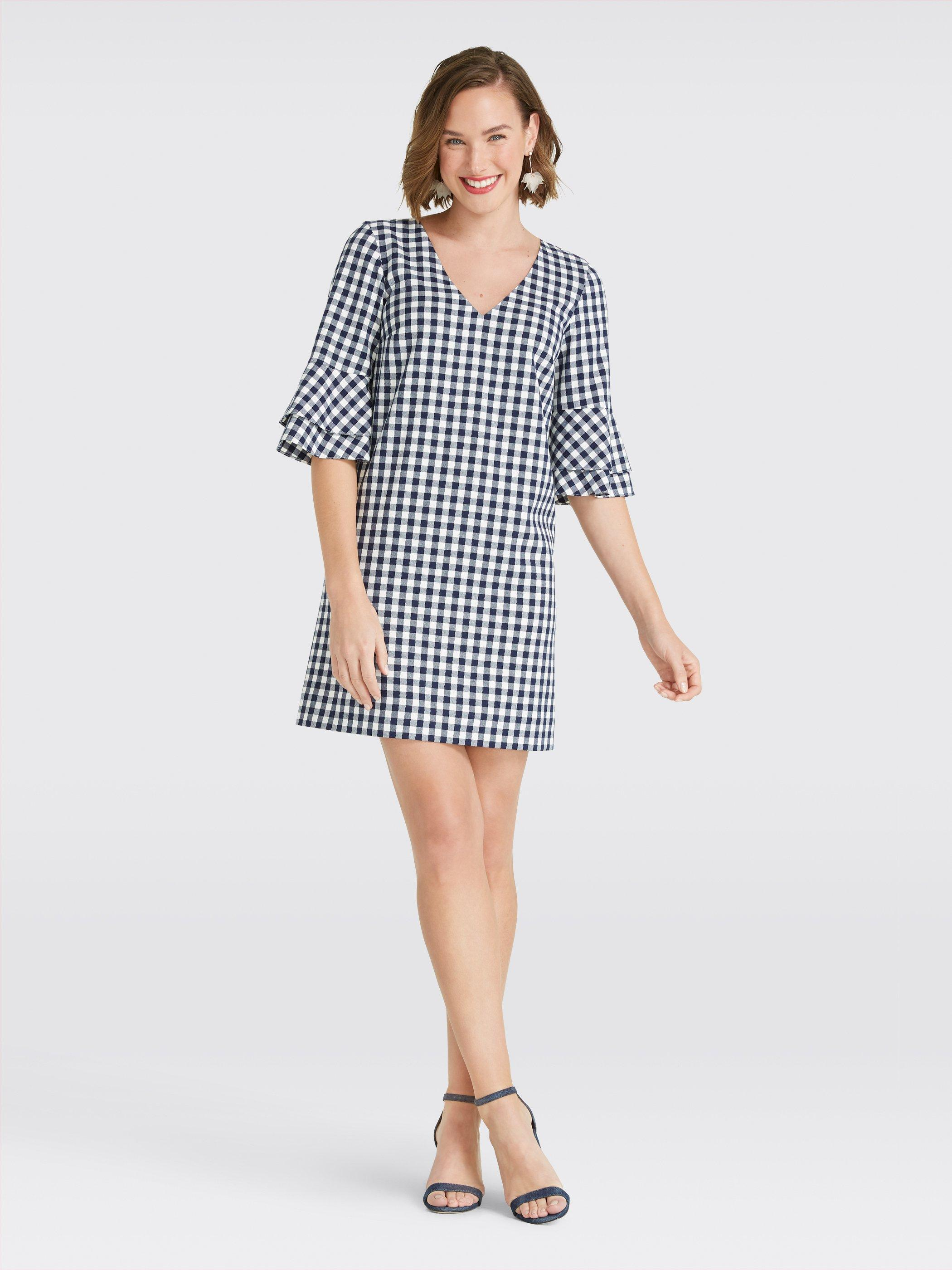 5add6218396 Lyst - Draper James Gingham Bell Sleeve Shift Dress in Blue - Save 23%