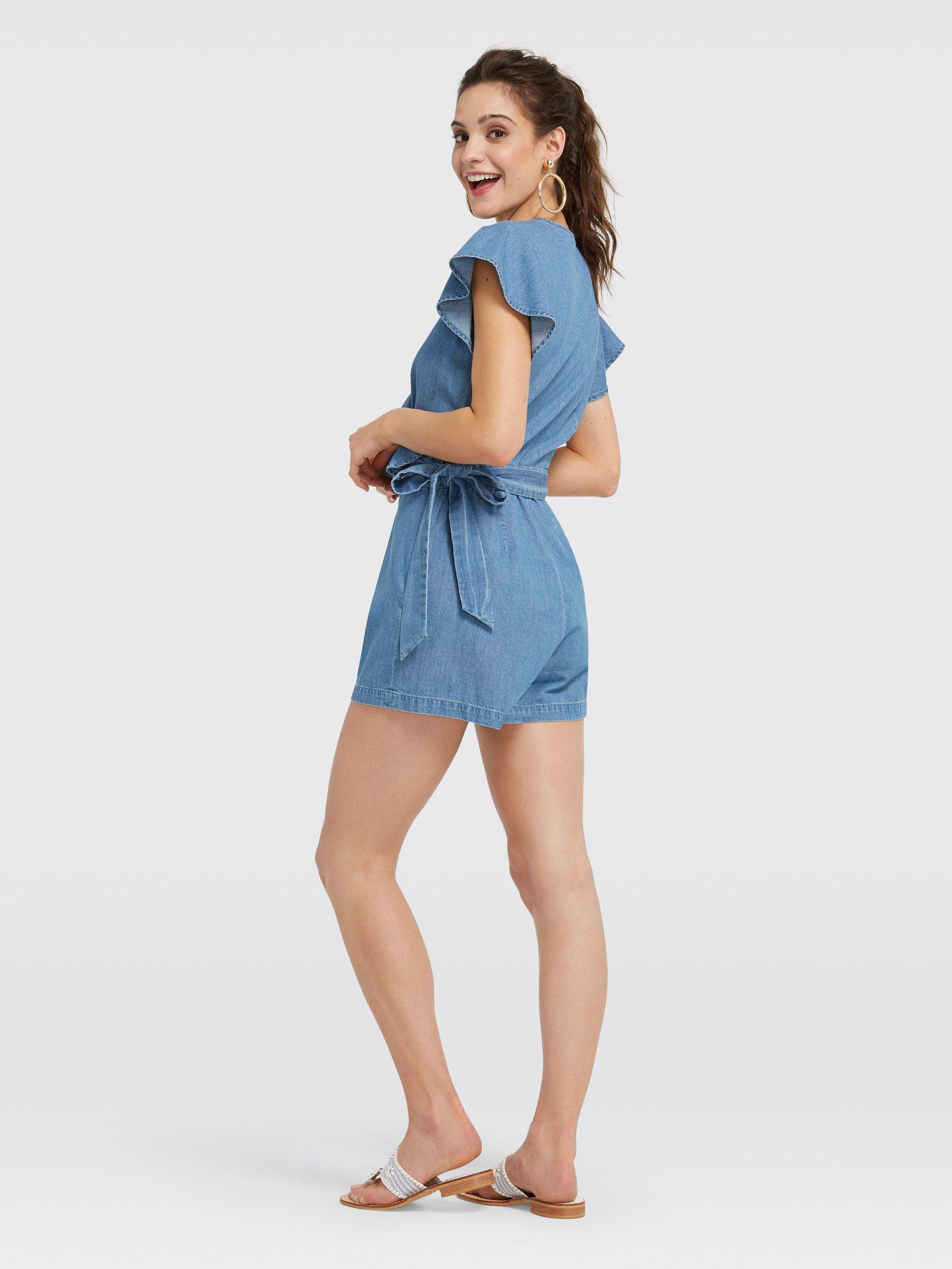 41d57042b75 Lyst - Draper James Chambray Flutter Romper in Blue