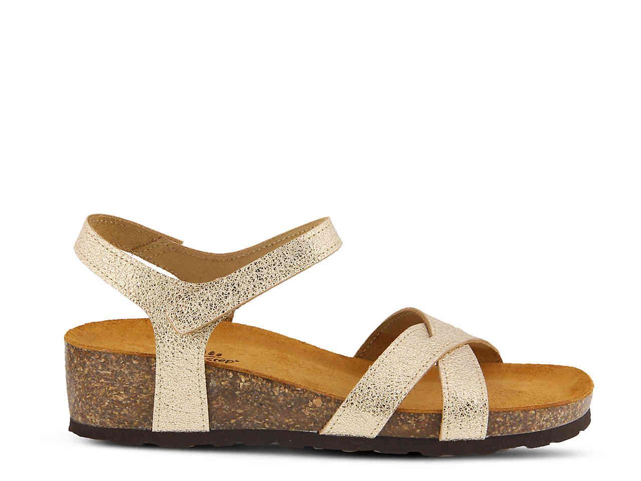 046794bc237 Lyst - Spring Step Anilia Wedge Sandal in Metallic