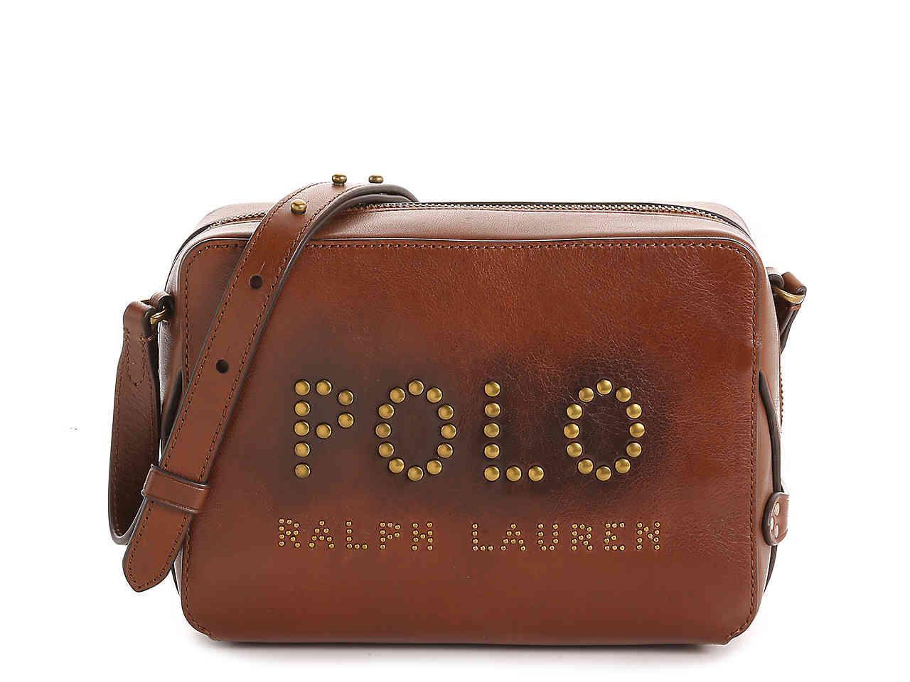 42f9fe01af Lyst - Polo Ralph Lauren Palmer Leather Crossbody Bag in Brown