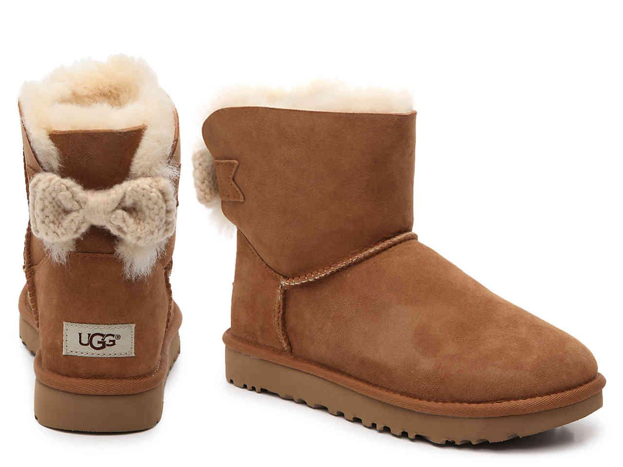 lyst ugg mini bailey knit bow bootie in brown. Black Bedroom Furniture Sets. Home Design Ideas
