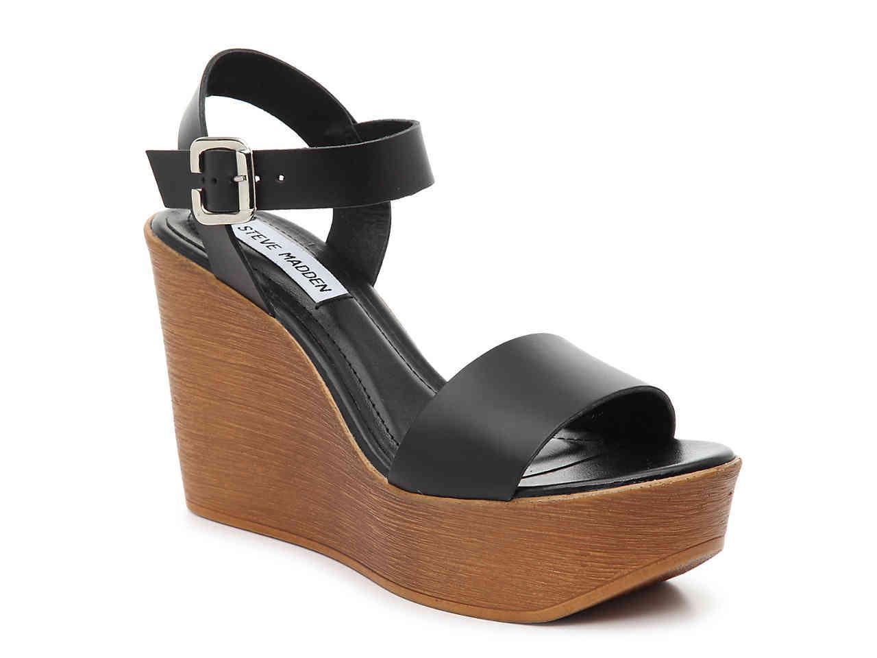 14eec2fa46b Steve Madden - Black Paden Leather Wedge Platform Sandals - Lyst. View  fullscreen