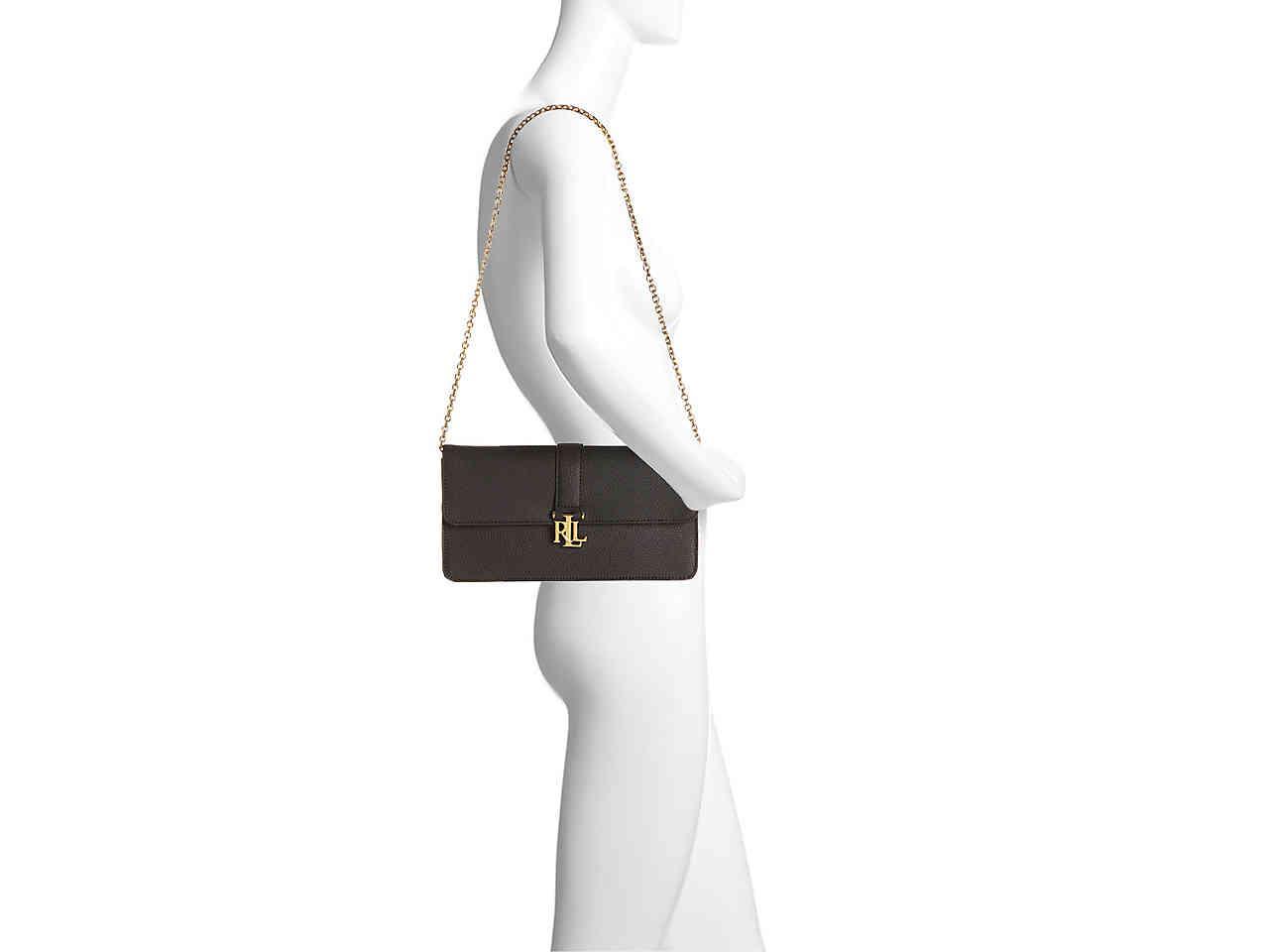 4aa0d9d6f1 Lyst - Lauren by Ralph Lauren Carrington Farrah Leather Shoulder Bag ...