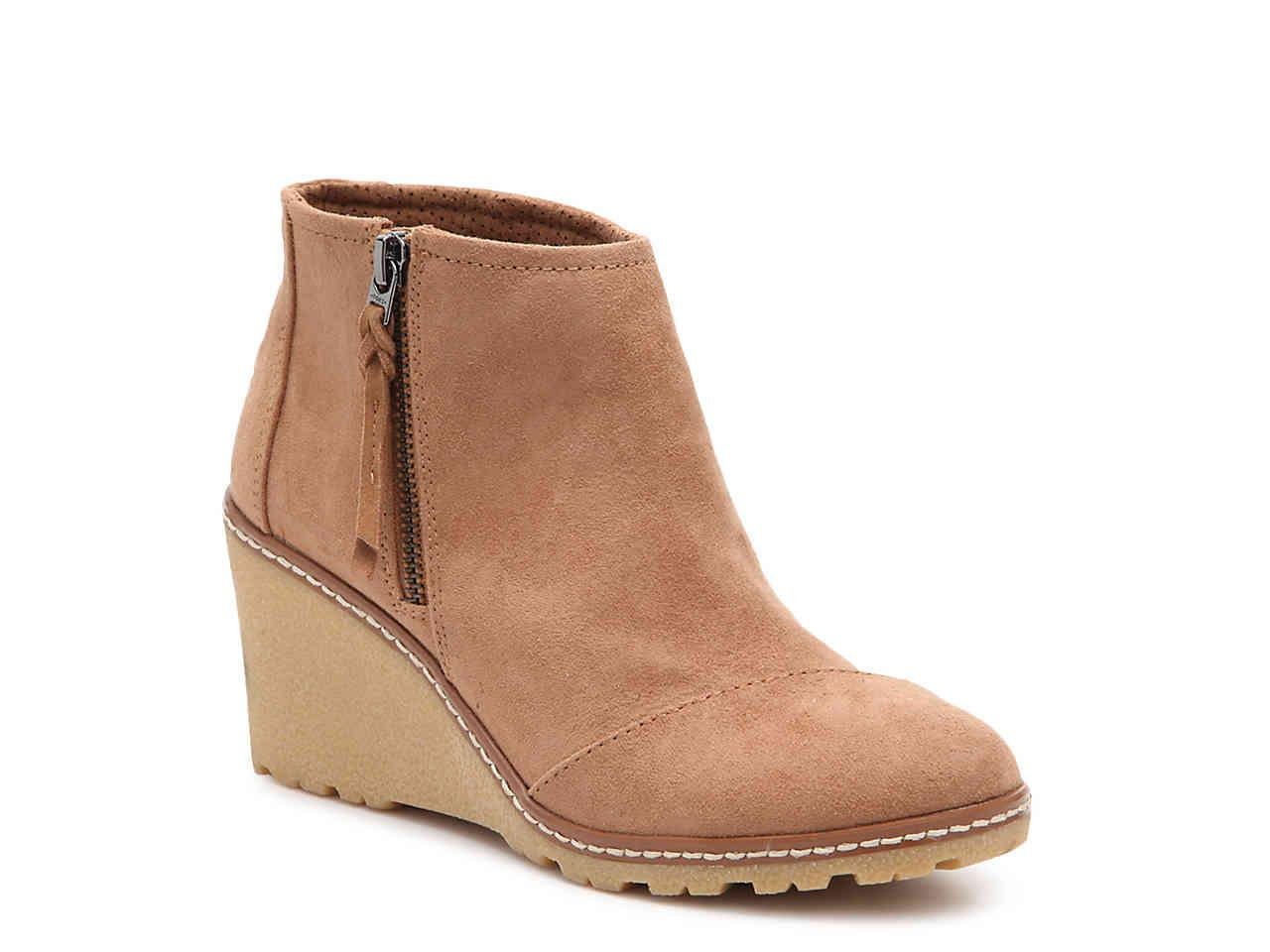 68576cf15f3 TOMS - Brown Avery Wedge Bootie - Lyst. View fullscreen