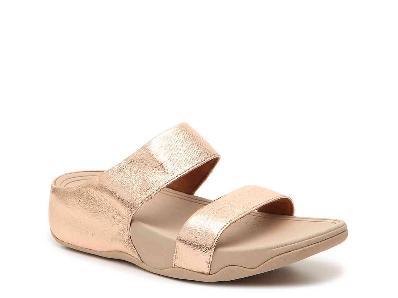 f3acc051316 Lyst - Fitflop Lulu Glitzy Wedge Sandal in Metallic