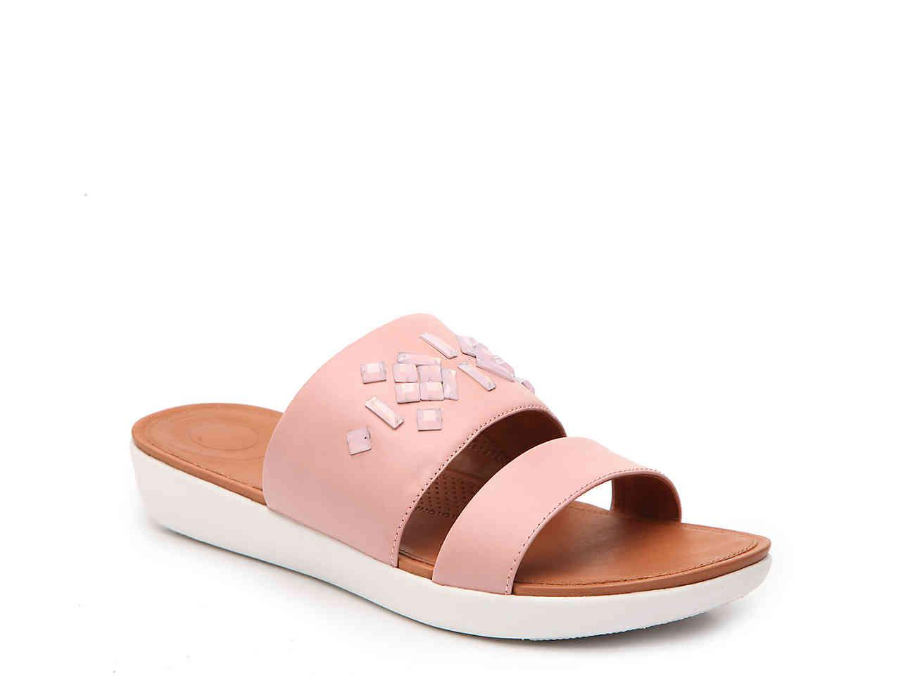 4bb57dfbf48de Lyst - Fitflop Delta Leather Slide Sandals - Crystal in Pink - Save 70%