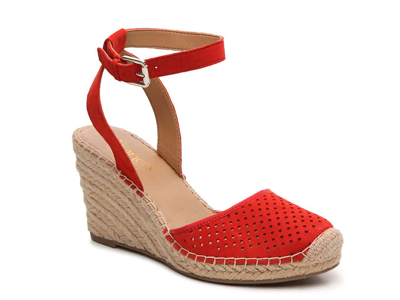 ec067f47e7 Franco Sarto Mirage Wedge Sandal in Red - Lyst