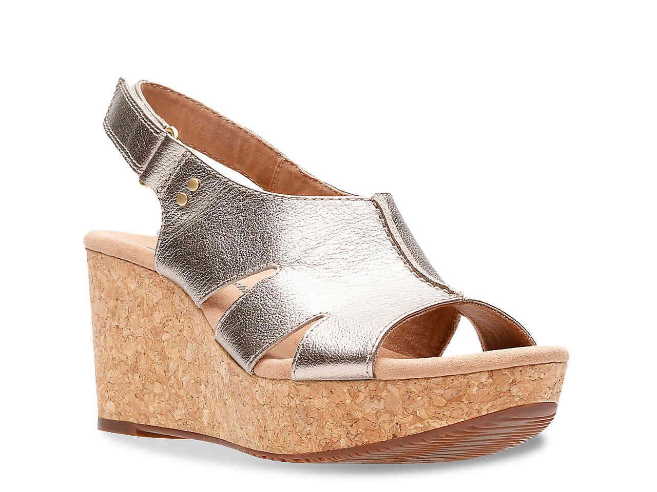 4b23285af10 Lyst - Clarks Annadel Bari Wedge Sandal in Metallic