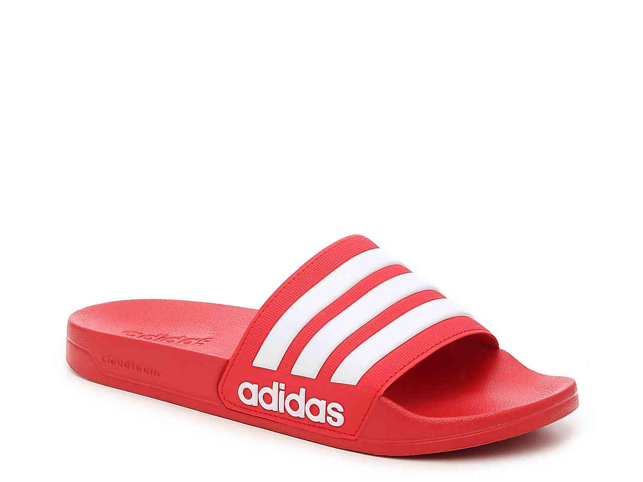 78b5d1ac8493a7 Adidas - Red Adilette Cloudfoam Slide Sandal for Men - Lyst. View fullscreen