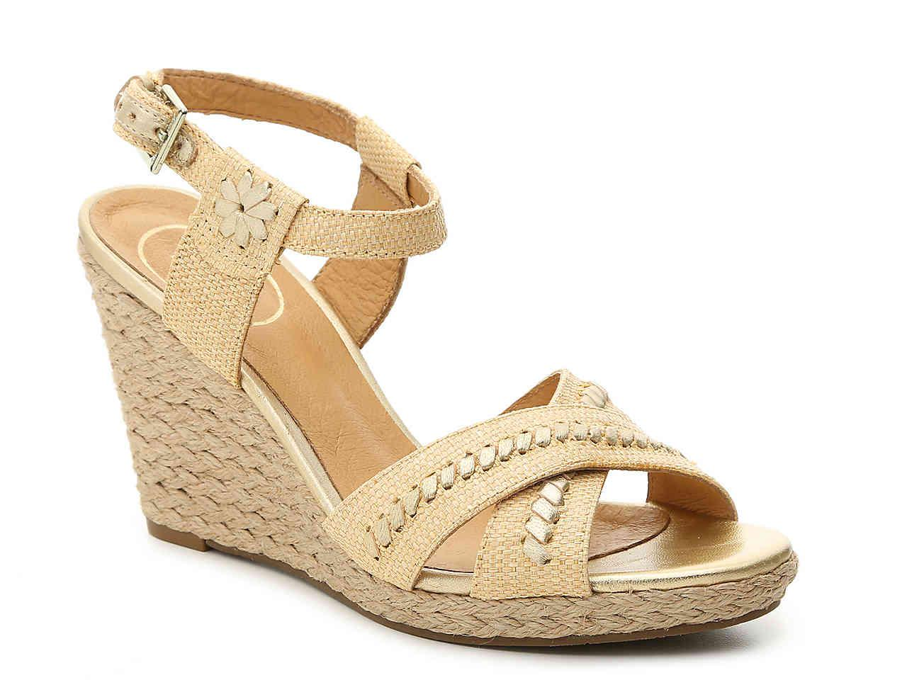 Jack Rogers Luccia Metallic Leather Whipstitched Medallion Wedge Sandals HwncYA3fx
